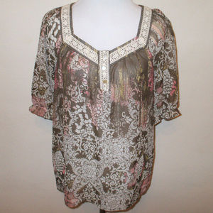 Paisley Lace Accent Sheer Flowy Top